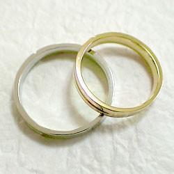 クロスペアリング 結婚指輪 マリッジリング 2色のゴールドK18 十字架 指輪 2本セット 送料無料