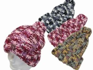 ニット帽/ミックスカラーボン付きワッチ