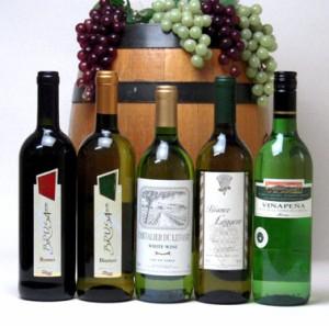 送料無料★高品質ワイン5本(白4本、赤1本)で送料込み750ml×5本
