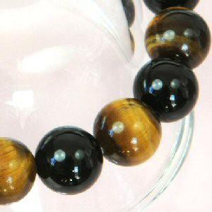 【メール便 送料無料】【開運】天然石 ブレスレット タイガーアイ*オニキス 12mm玉 MIX【虎目石*黒瑪瑙 12mm数珠】 ┃