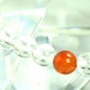 【メール便 送料無料】 天然石 ブレスレット 水晶+カーネリアン5個 6mm玉【クリスタルクォーツ/紅玉髄6ミリ数珠】 ┃