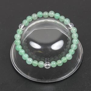 【メール便 送料無料】天然石 ブレスレット ジェイド(ヒスイ)*水晶3個 6mm玉【翡翠*クリスタルクォーツ数珠 6ミリ】 ┃