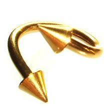 【メール便 送料無料】ボディピアス ツイスト スパイラル コーン ゴールド 14GA(1.6mm) Anodized加工 ボディーピアス ┃