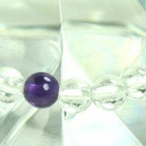 【メール便 送料無料】 天然石 ブレスレット 水晶+アメジスト5個 6mm玉【クリスタルクォーツ*紫水晶 6ミリ数珠ブレスレット】 ┃