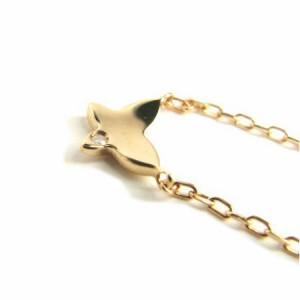 ピンクゴールド*K10PG羽ばたくバタフライ(蝶々)♪天然ダイヤモンドネックレス 送料無料