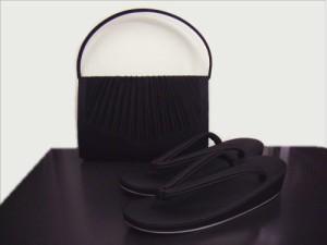 和洋兼用喪服用(お葬式・法事)総黒草履バッグセット大きいサイズLL