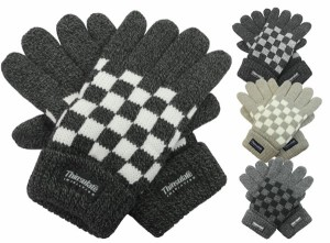 手袋/メンズ/シンサレート紳士ニット手袋◆ブロックチェック柄