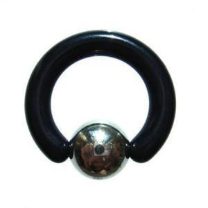 【メール便 送料無料】 UVアクリル ブラック*ステンレス ビーズリング 8GA(3mm) 【ボディーピアス/ボディピアス】 ┃