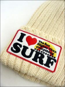 【即納】agate【アガート】I LOVE SURFワッペンニットキャップ/WHT