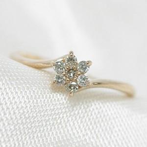 0.1ct ダイヤモンド の輝き★K18 ピンクゴールド リング
