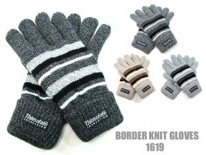 手袋/メンズ/紳士ニット手袋◆ボーダー