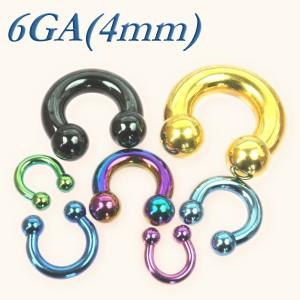 【メール便 送料無料】サーキュラー バーベル カラー 6GA(4mm)【ボディピアス/ボディーピアス/COLOR/黒、金、紫、青、水色、緑】 ┃