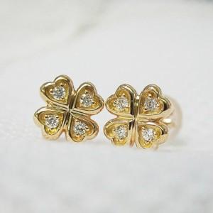 四つ葉クローバー K18ピンクゴールド ダイヤモンドピアス 18金