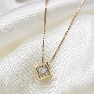 0.1ctダイヤモンド18金ピンクゴールドプチネックレス:選べるタイプ:5日以内