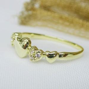 【送料無料】選べる地金 ハートの連 ダイヤモンドK18リング(お届け3週間)