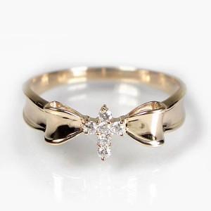 十字架デザインのダイヤモンドリングK18WG/K18PG:選べる素材