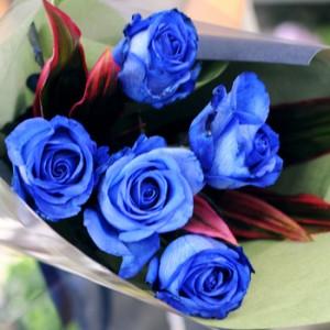 青いバラの花束/青バラ6本以上で本数指定できます。ブルーローズの花束 お花ギフト 花宅配エーデルワイス花贈り物