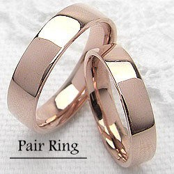 ペアリング 結婚指輪 マリッジリング ピンクゴールドK18平打ち指輪 2本セット 送料無料