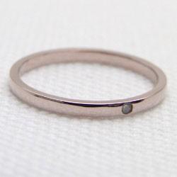 シンプル ストレート 一粒 ダイヤリング ピンクゴールドK18 指輪 18金 ピンキーリング ダイヤモンド 0.01ct 究極diaring