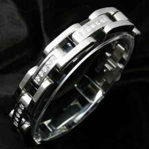 【送料無料】Zanipolo Terzini/ザニポロ・タルツィーニ ステンレス&ホワイトジルコニア ウォッチベルト型ブレスレット ZTB1700WH-CZ