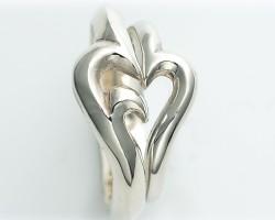 ペアリング 刻印無料 送料無料 FISS シルバー 大きいサイズ ペアルック 「pure heart」psr-005/14,500円