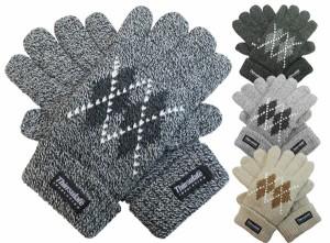 手袋/メンズ/紳士ニット手袋◆アーガイル柄