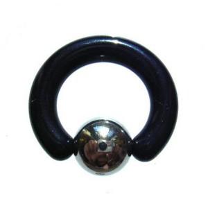 【メール便 送料無料】ボディピアス アクリル・ブラック*ステンレス ビーズリング 6GA(4mm) ボディーピアス ┃