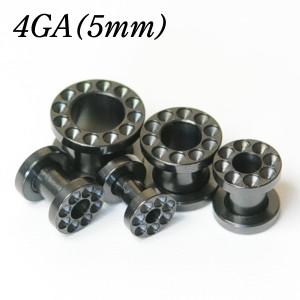 メール便 送料無料/フレッシュトンネル ブラック 凹仕様 4GA(5mm) サージカルステンレス 【ボディピアス/ボディーピアス/黒色】 ┃