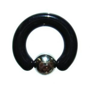 【メール便 送料無料】 UVアクリル・ブラック*ステンレス 4GA(5mm)キャプティブビーズリング【ボディピアス/ボディーピアス】  ┃