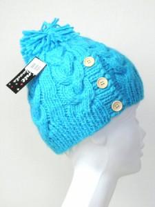 メール便 送料無料 ニットキャップ ボタン付き 縄編みニット帽子【メンズ レディス カジュアル 男女兼用 ニット帽】Knit Cap  ┃