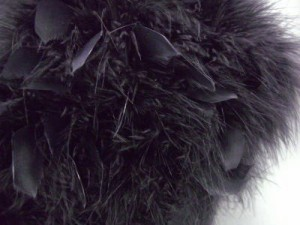 スワン羽毛ショール黒に黒羽根 振袖成人式&卒業式袴に