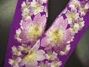 振袖成人式&着物に♪ぎっしり刺繍半衿紫地桜桜