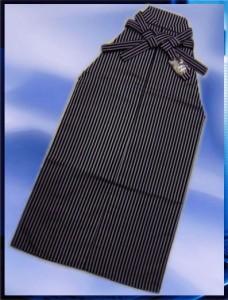メンズ男物男性馬乗り型袴(はかま)黒グレー縞S・M・L・LL 成人式&卒業式&結婚式に