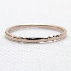 シンプル ストレートリング ピンクゴールドK18 丸線地金 指輪 18金 ピンキーリング メタルリング 究極ring