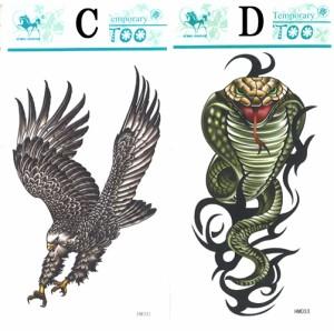 タトゥーシール■14種類*蠍(スコーピオン)・鷹(イーグル)・龍(ドラゴン)・髑髏(スカル/ドクロ)・狼(ウルフ)・蜘蛛