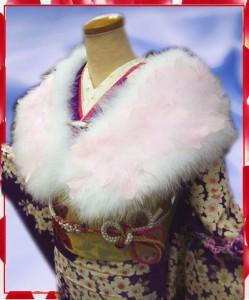 振袖成人式&袴に スワン羽毛ショール白に天使のピンク羽根
