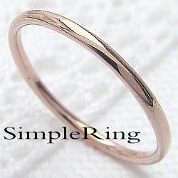 シンプル ストレートリング ピンクゴールドK10 丸線地金 指輪 10金 ピンキーリング メタルリング 究極ring