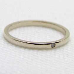 シンプル ストレート 一粒 ダイヤリング イエローゴールドK18 指輪 K18YG ピンキーリング ダイヤモンド 0.01ct 究極diaring