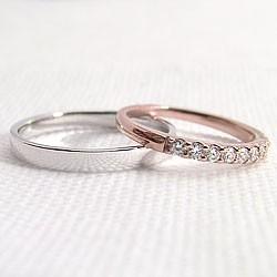 結婚指輪 エタニティリング ダイヤモンド 平打ち ペアリング ピンクゴールドK18 ホワイトゴールドK18 マリッジリング 送料無料