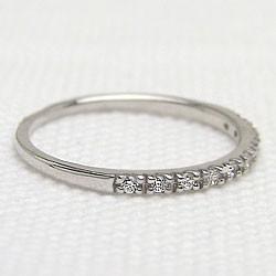 エタニティリング ダイヤリング ホワイトゴールドK10 指輪 10金 ピンキーリング 天然ダイヤモンド0.10ct 送料無料/diaring
