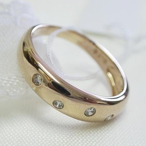 シンプルダイヤ 18金 K18ピンクゴールドリング(太)