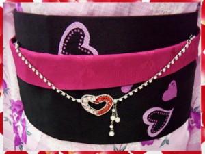 浴衣&振袖&袴に♪ラインストーン帯飾りピンク&レッドオープンハート