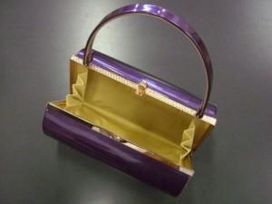 振袖成人式&袴・訪問着に エナメル草履バッグセット紫(金)M・L