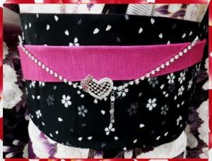 浴衣&振袖&袴に♪ラインストーン帯飾りハート小花