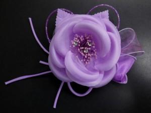 振袖成人式&袴&浴衣に♪髪飾り(コサージュ)ラインストーン&ビーズ薄紫可憐花