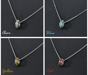 【silver925】全4色★エタニティラインストーン ベビーリングチャームネックレス*シルバー925