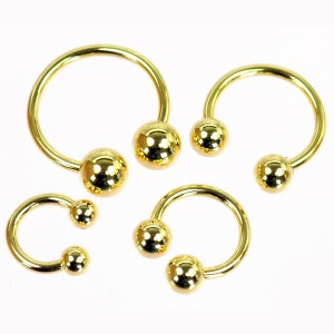 【メール便 送料無料】サーキュラーバーベル ゴールド 16GA(1.2mm)【ボディピアス/ボディーピアス/GOLD/金色】 ┃