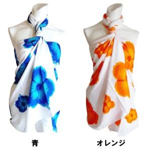 パレオ 白ベース ハイビスカス模様 花柄 全6色【水着の上からコーディネート/ビーチでプールで大活躍】p-002 ┃
