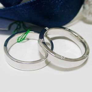 【ペアリング 結婚指輪】プラチナ900 マリッジリング ダイヤモンド 2点セット (A)
