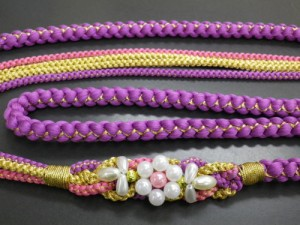 振袖成人式&着物に パール飾り付3色使い正絹帯締め帯〆藤紫